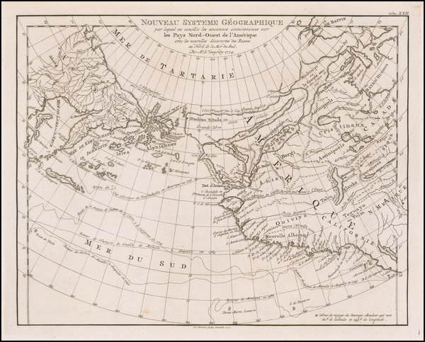 Polar Maps, Alaska, Canada, Pacific and Russia in Asia Map By Gilles Robert de Vaugondy / A. Krevelt