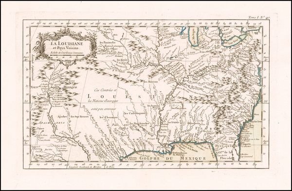 65-South, Southeast, Midwest and Plains Map By Jacques Nicolas Bellin