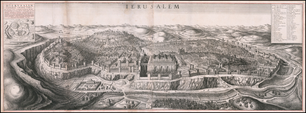 7-Holy Land and Jerusalem Map By Wenceslaus Hollar