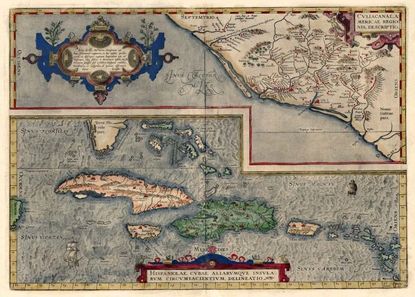 91-Southeast, Mexico and Caribbean Map By Abraham Ortelius