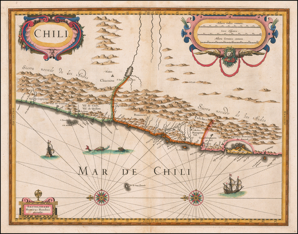 66-Chile Map By Henricus Hondius