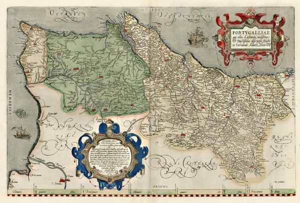 43-Portugal Map By Abraham Ortelius