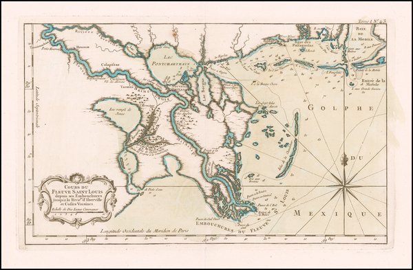 30-South and Louisiana Map By Jacques Nicolas Bellin