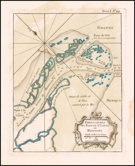 43-South and Louisiana Map By Jacques Nicolas Bellin