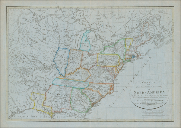 United States, South, Alabama, Mississippi, Midwest and Plains Map By Franz Ludwig Gussefeld