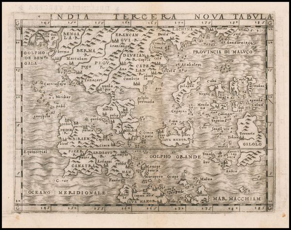 61-Southeast Asia, Philippines and Other Islands Map By Giacomo Gastaldi