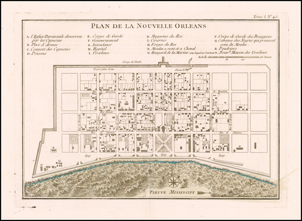36-South and Louisiana Map By Jacques Nicolas Bellin