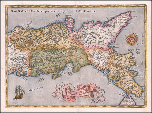 22-Southern Italy Map By Abraham Ortelius