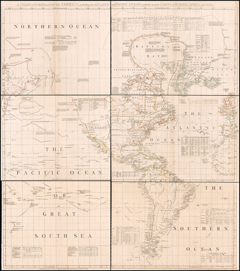 51-Pacific Ocean, North America and Pacific Map By Thomas Jefferys / Bradock Mead
