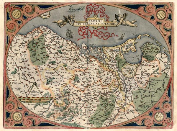 0-Netherlands and Germany Map By Abraham Ortelius