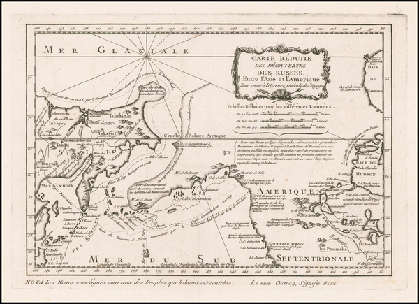 99-Polar Maps, Pacific Northwest, Alaska, Canada and Russia in Asia Map By Jacques Nicolas Bellin