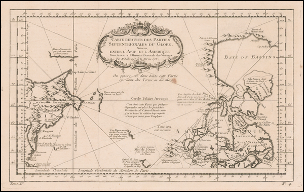Polar Maps, Alaska and Canada Map By Jacques Nicolas Bellin