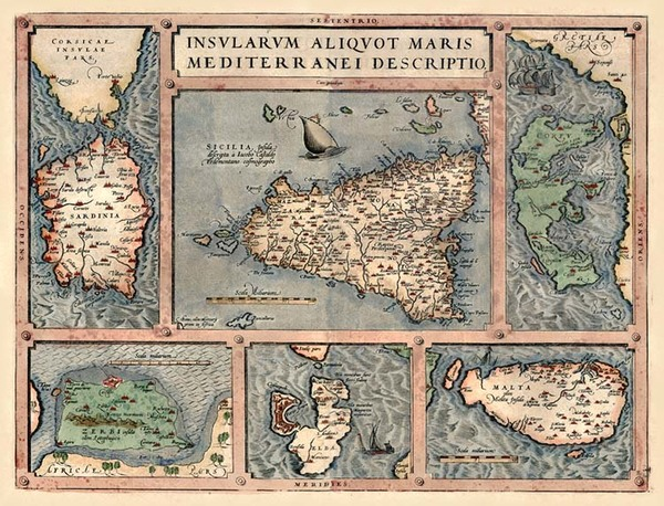 56-Europe, Italy, Greece, Mediterranean and Balearic Islands Map By Abraham Ortelius