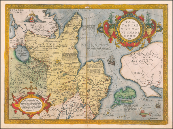 13-Pacific Northwest, Alaska, China, Japan, Russia in Asia and California Map By Abraham Ortelius