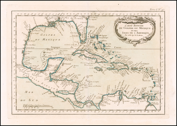 70-Florida and Caribbean Map By Jacques Nicolas Bellin