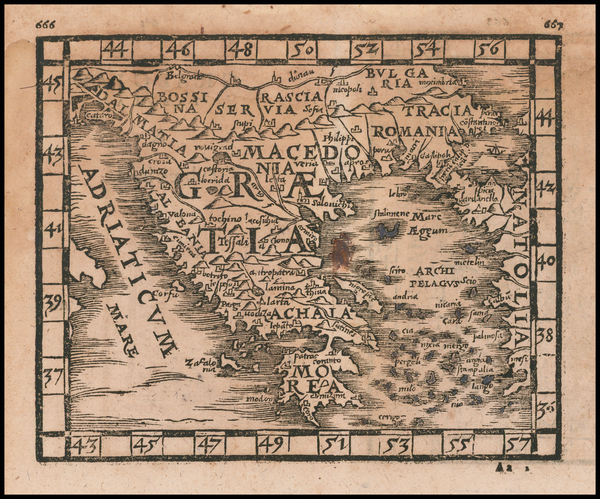 83-Greece Map By Johann Honter