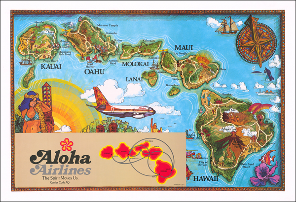 65-Hawaii, Hawaii and Pictorial Maps Map By Aloha Airlines