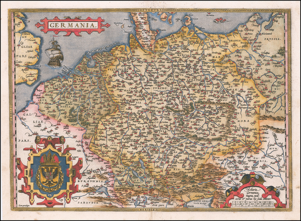 88-Netherlands, Germany, Poland and Baltic Countries Map By Abraham Ortelius