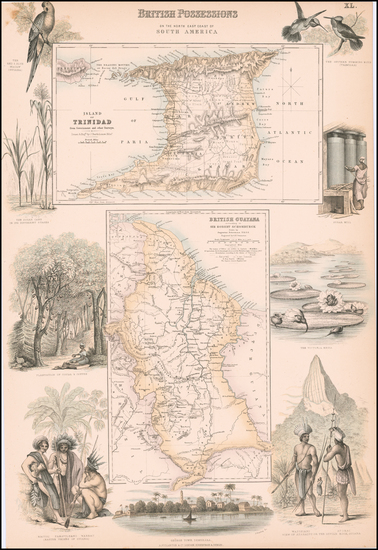 10-Caribbean and Guianas & Suriname Map By Archibald Fullarton & Co.
