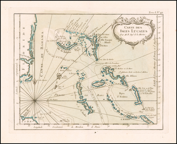 82-Florida and Bahamas Map By Jacques Nicolas Bellin