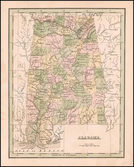 58-Alabama Map By Thomas Gamaliel Bradford