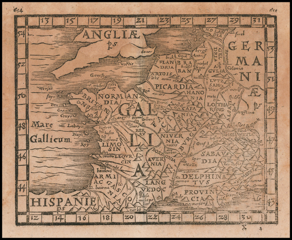66-British Isles, England, Wales and France Map By Johann Honter