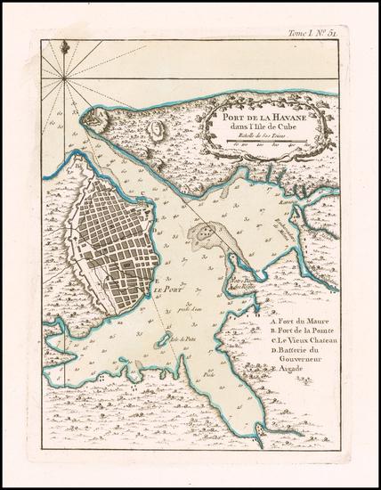 92-Cuba Map By Jacques Nicolas Bellin