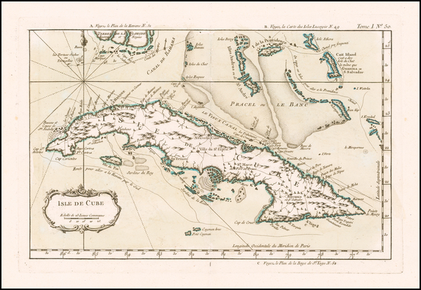 10-Florida, Cuba and Bahamas Map By Jacques Nicolas Bellin