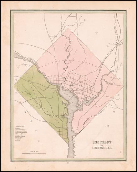 22-Washington, D.C. Map By Thomas Gamaliel Bradford