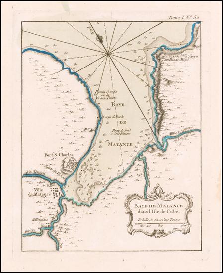 27-Cuba Map By Jacques Nicolas Bellin