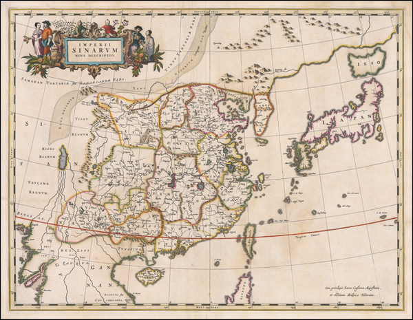 82-China and Korea Map By Johannes Blaeu