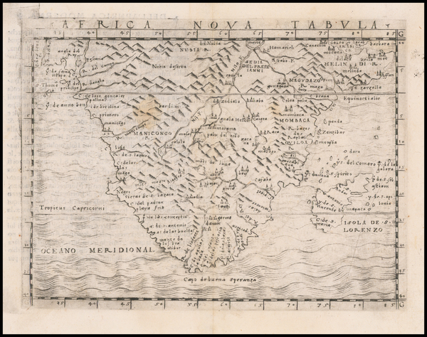 81-South Africa and African Islands, including Madagascar Map By Giacomo Gastaldi