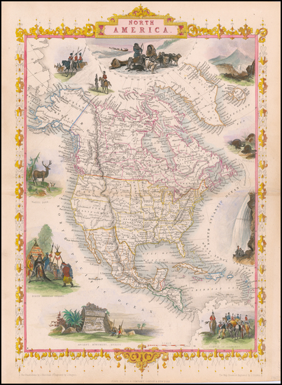 66-North America Map By John Tallis