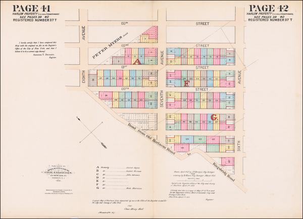 26-New York City Map By Joseph Bridges / Spielmann & Brush / Charles Henry Hall