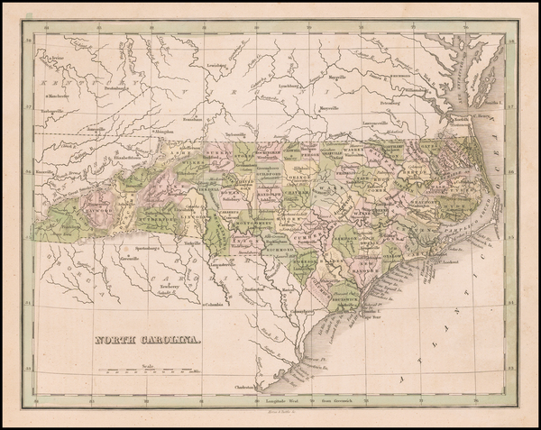 32-North Carolina Map By Thomas Gamaliel Bradford