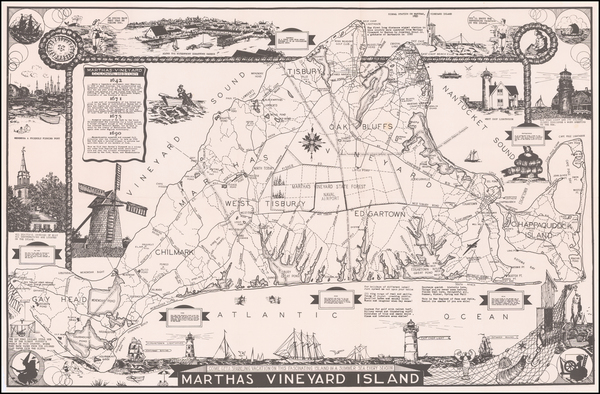Massachusetts and Pictorial Maps Map By Larry Parker