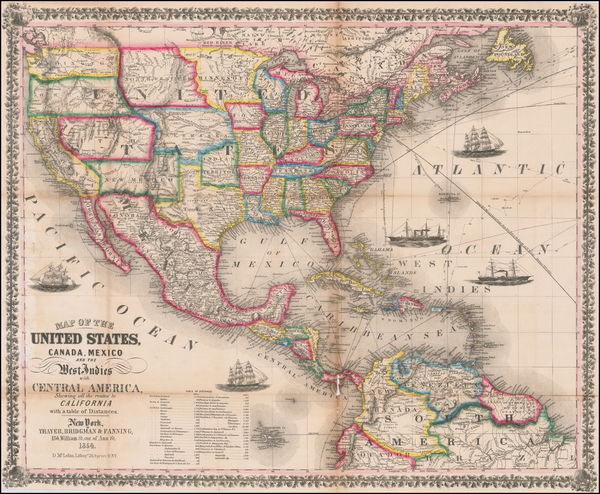 68-United States Map By Thayer, Bridgeman & Fanning
