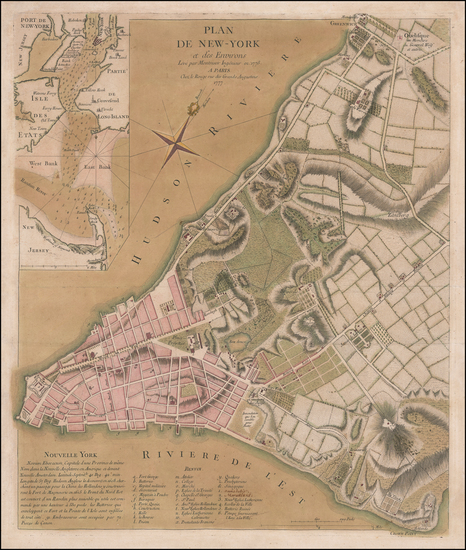 31-New York City and New York State Map By George Louis Le Rouge / John Montresor