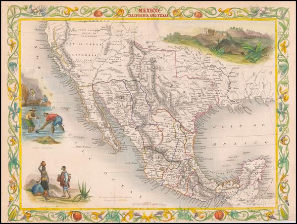 Texas, Southwest, Rocky Mountains, Mexico and California Map By John Tallis