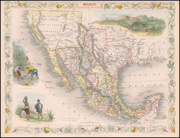 13-Texas, Southwest, Rocky Mountains, Mexico and California Map By John Tallis
