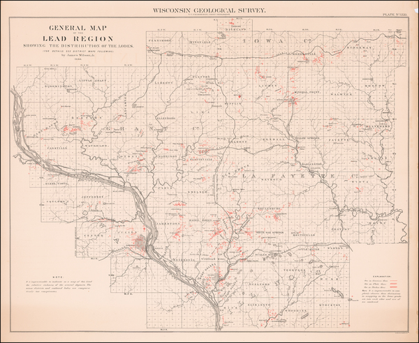 84-Wisconsin Map By Geological Survey of Wisconsin