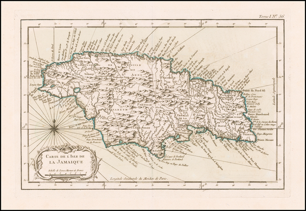 63-Jamaica Map By Jacques Nicolas Bellin