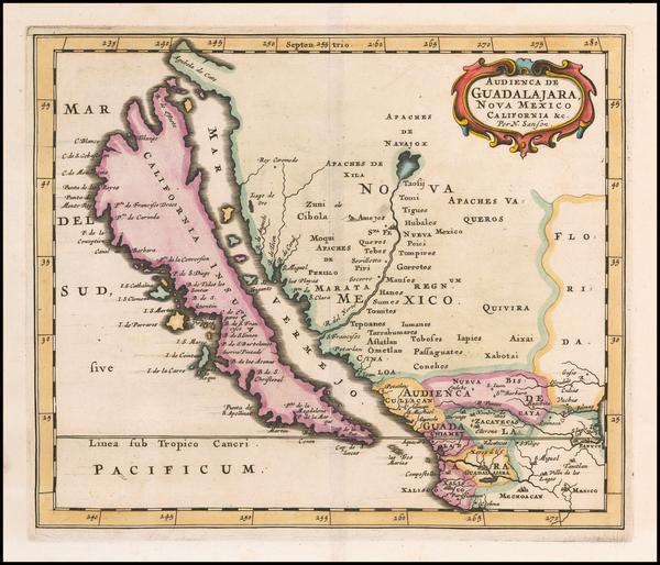 33-Southwest, Mexico, Baja California, California and California as an Island Map By Nicolas Sanso