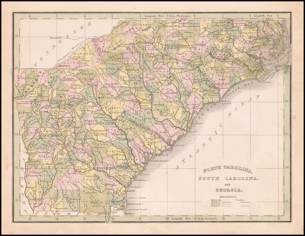 100-Georgia, North Carolina and South Carolina Map By Thomas Gamaliel Bradford