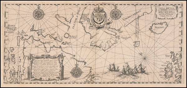 59-Polar Maps, Atlantic Ocean, Canada and Iceland Map By Theodor De Bry