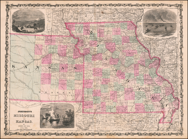95-Kansas and Missouri Map By Benjamin P Ward  &  Alvin Jewett Johnson