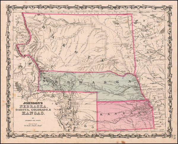 60-Kansas, North Dakota, South Dakota, Colorado, Colorado, Montana and Wyoming Map By Benjamin P W