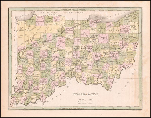 85-Indiana and Ohio Map By Thomas Gamaliel Bradford