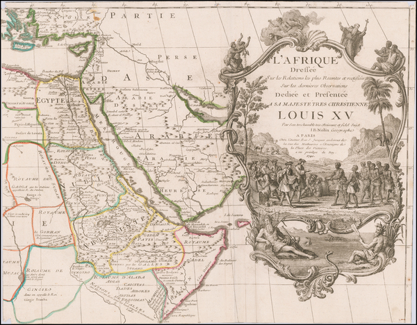28-Arabian Peninsula, Egypt, North Africa, East Africa and Curiosities Map By Jean-Baptiste Nolin
