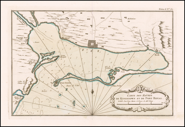 78-Jamaica Map By Jacques Nicolas Bellin